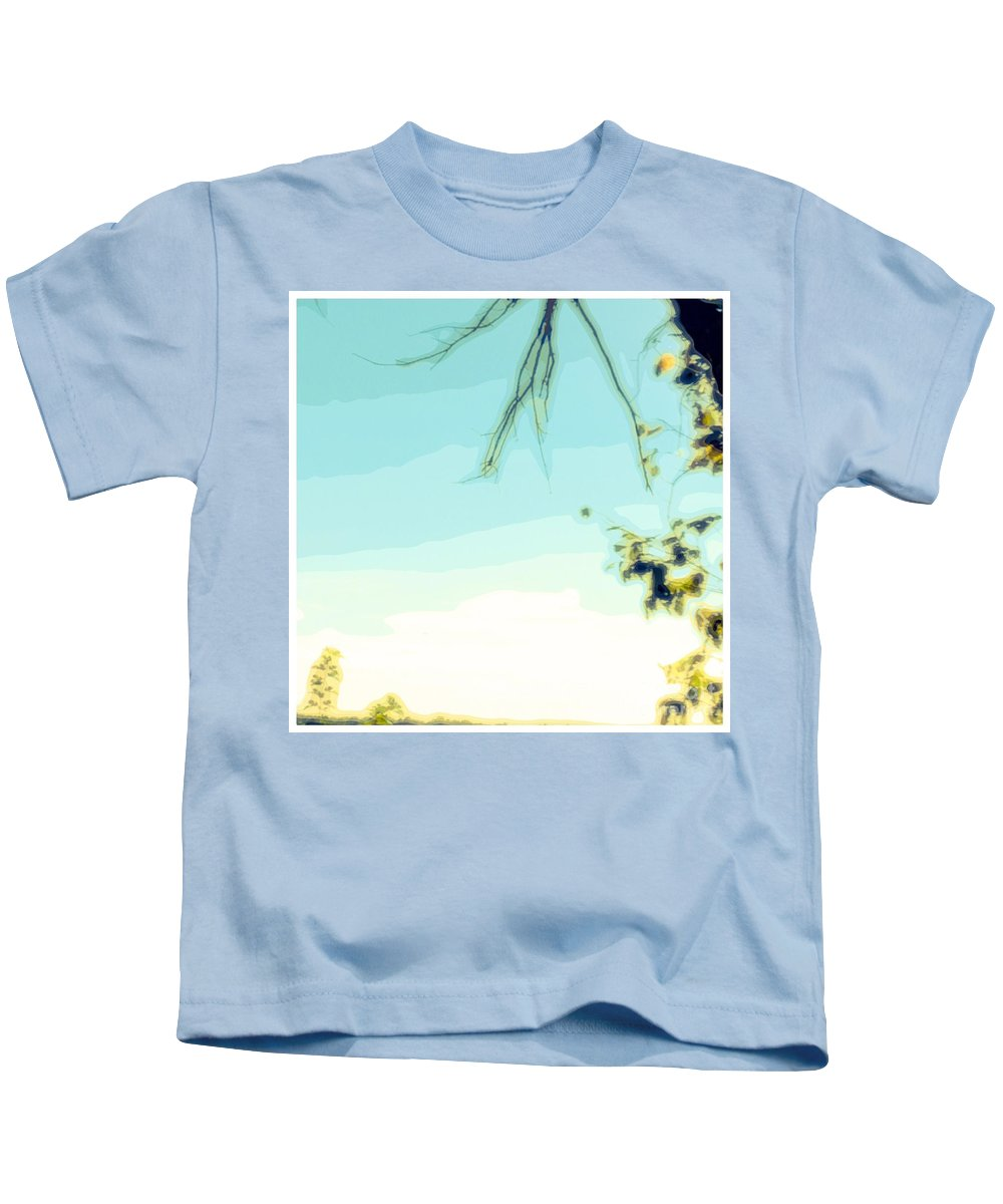Green Kids T-Shirt featuring the photograph Abstract Of Trees And Sky by Debra Lynch