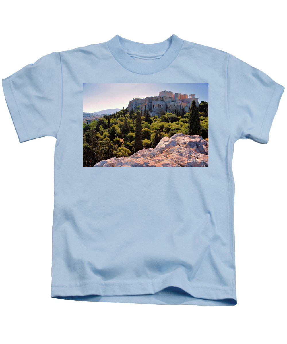Acropolis Kids T-Shirt featuring the photograph Acropolis In The Morning Light by Camelia C