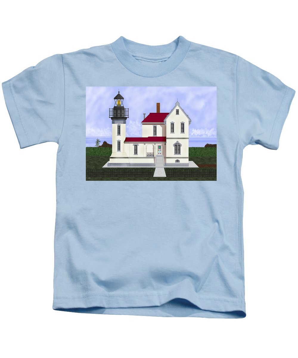 Admiralty Head Kids T-Shirt featuring the painting Admiralty Head Light Station Circa 1920 by Anne Norskog