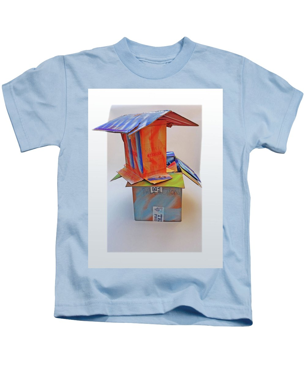House Kids T-Shirt featuring the mixed media Aftermath 2 by Charles Stuart