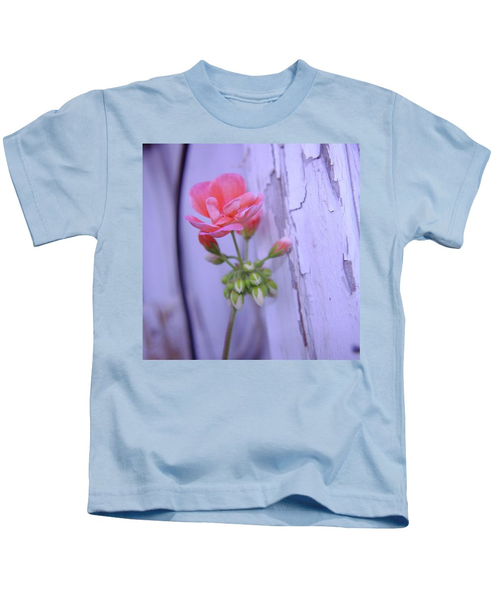 Floral Kids T-Shirt featuring the photograph Against The Barn Wall by Jeff Swan