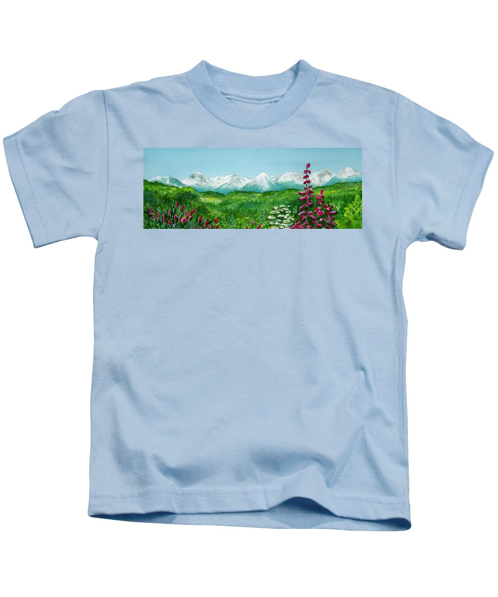 Landscape Kids T-Shirt featuring the painting Alaska Splendor by Brenda Owen