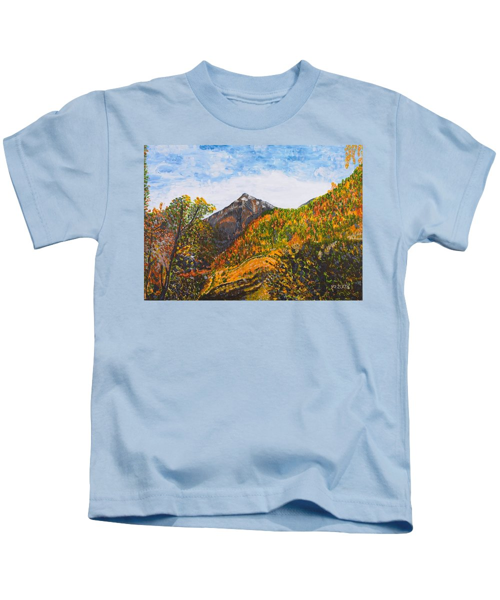 Landscape Kids T-Shirt featuring the painting Algund View by Valerie Ornstein