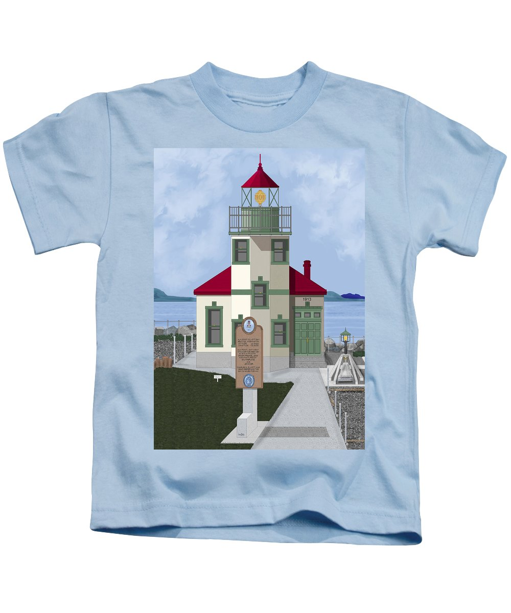 Lighthouse Kids T-Shirt featuring the painting Alki Point On Elliott Bay by Anne Norskog