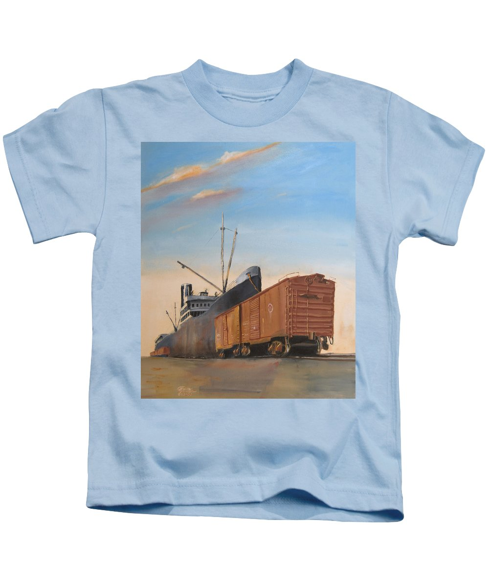 Ship Kids T-Shirt featuring the painting Allied Orient Lines by Christopher Jenkins