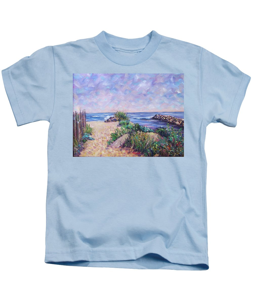 Shore Kids T-Shirt featuring the painting Along The Breachway Rhode Island by Richard Nowak
