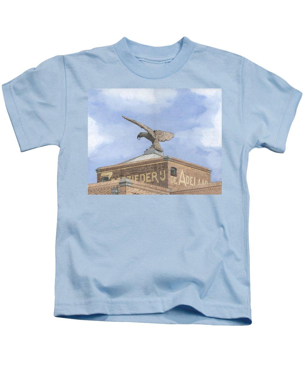 Mixed Media Kids T-Shirt featuring the mixed media Along The River Zaan Zeepziederij De Adelaar by Rob De Vries