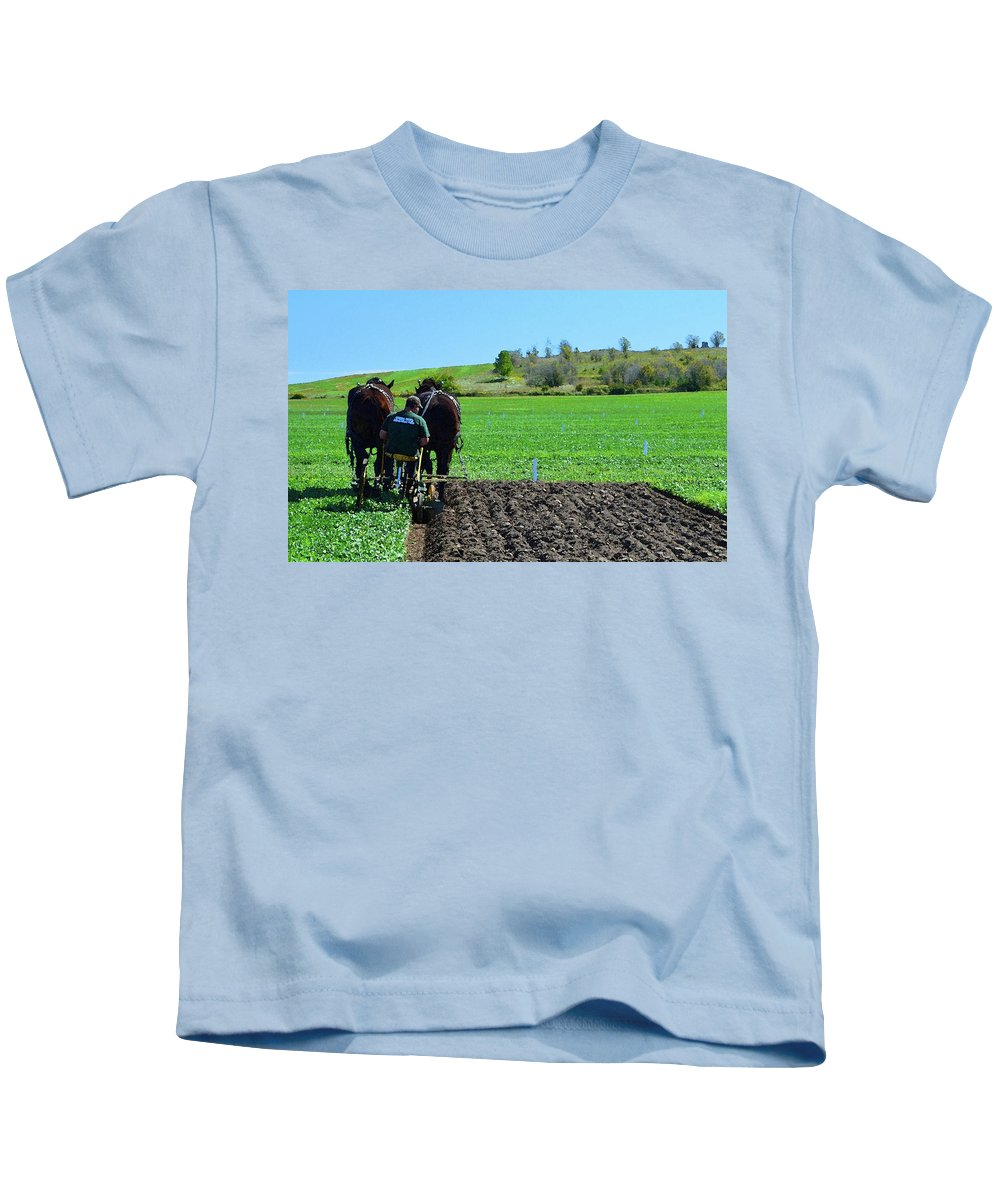 Horses Kids T-Shirt featuring the photograph Along The Row Four by Lyle Crump