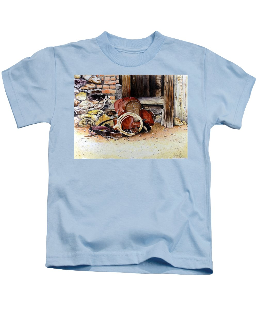 Western Kids T-Shirt featuring the painting Amanda's Saddle by Jimmy Smith