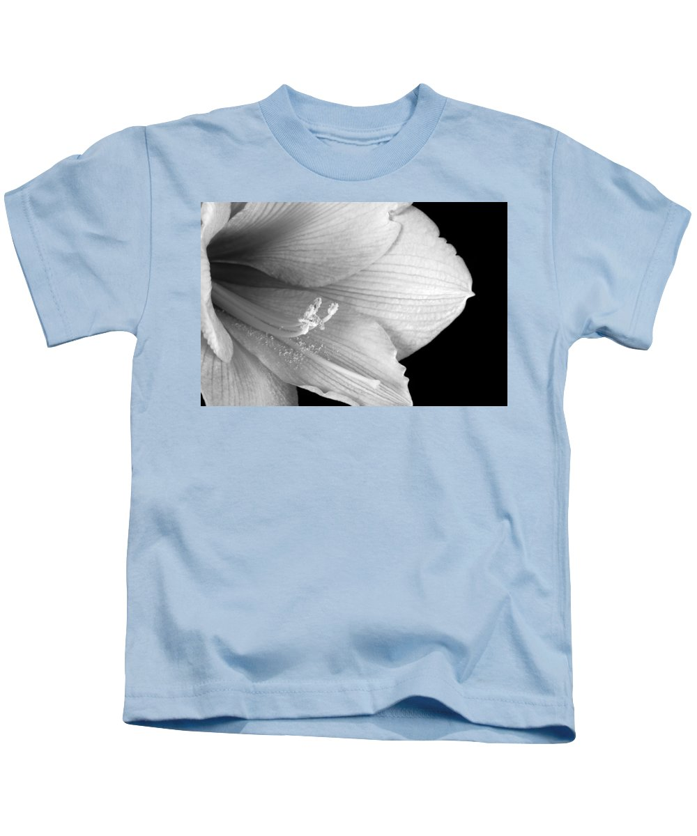 Amaryllis Kids T-Shirt featuring the photograph Amaryllis Flower Close Up Bw 12-27-10 by James BO Insogna
