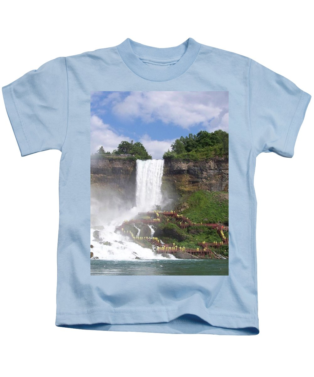 Niagra Falls Kids T-Shirt featuring the photograph American Falls At Niagra by Laurie Paci