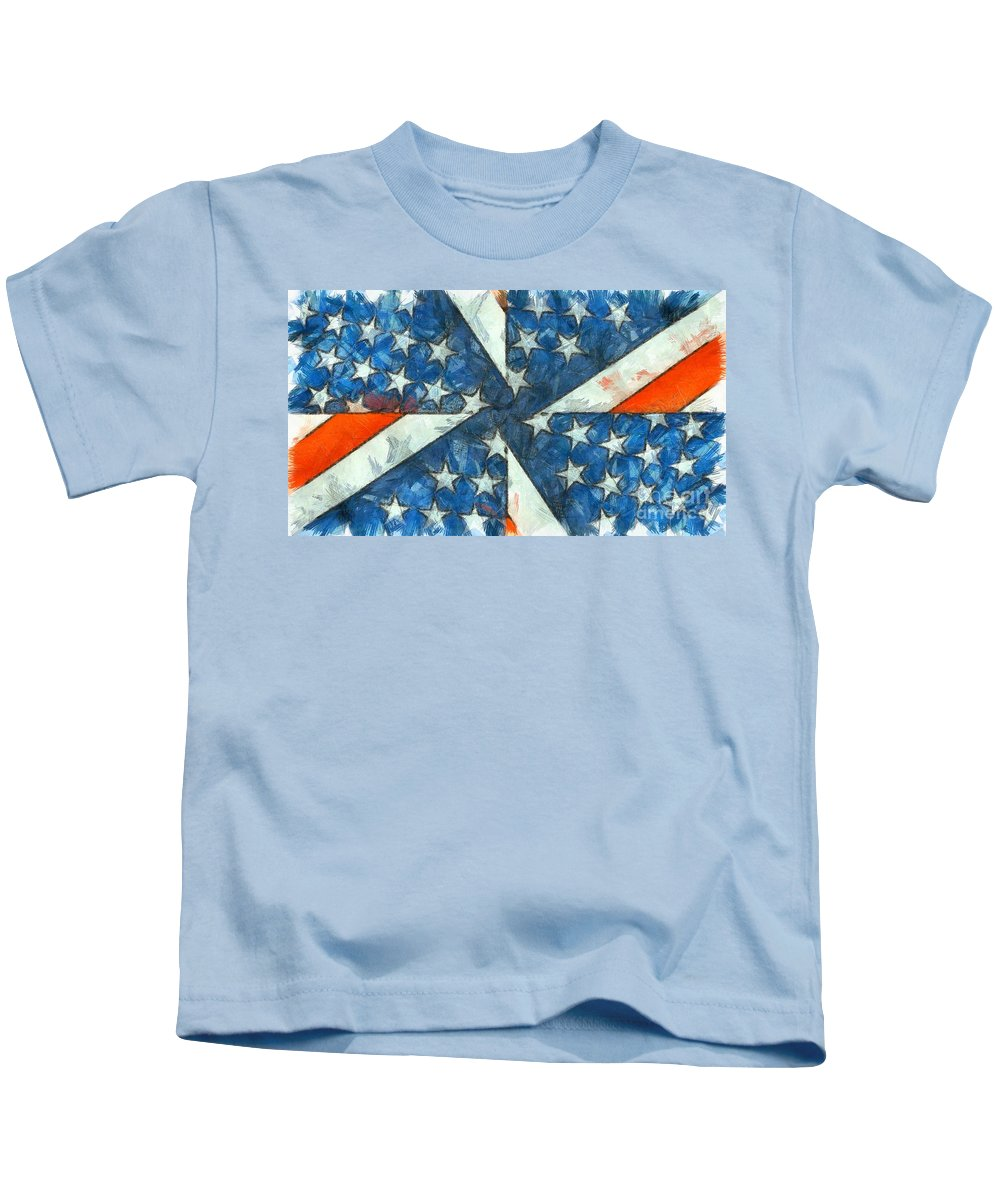 Usa Kids T-Shirt featuring the digital art Americana Abstract by Edward Fielding