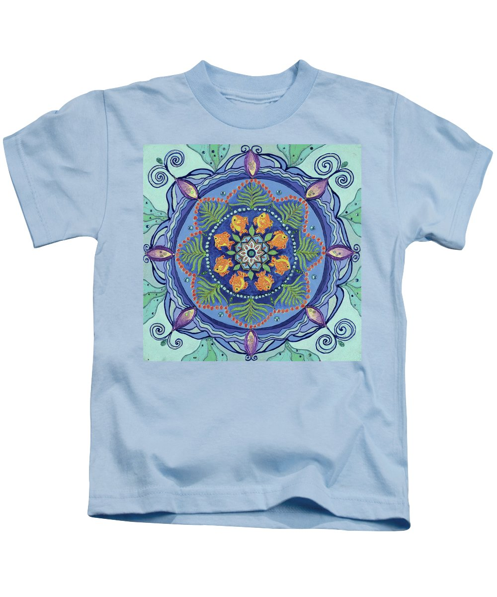 Mandala Kids T-Shirt featuring the painting And So It Grows Expansion And Creation by Kathleen Rausch