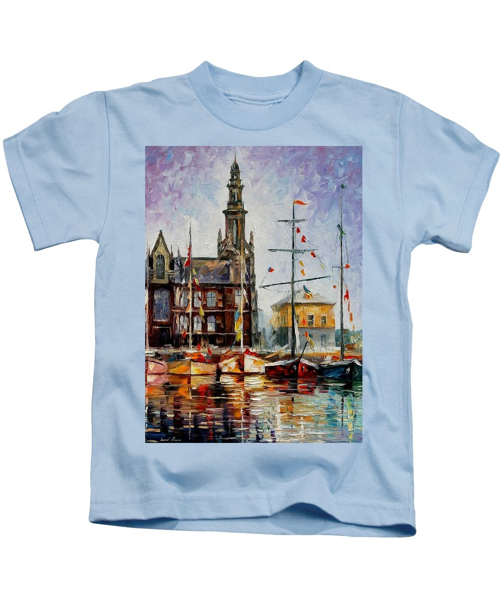 Afremov Kids T-Shirt featuring the painting Antwerp - Belgium by Leonid Afremov