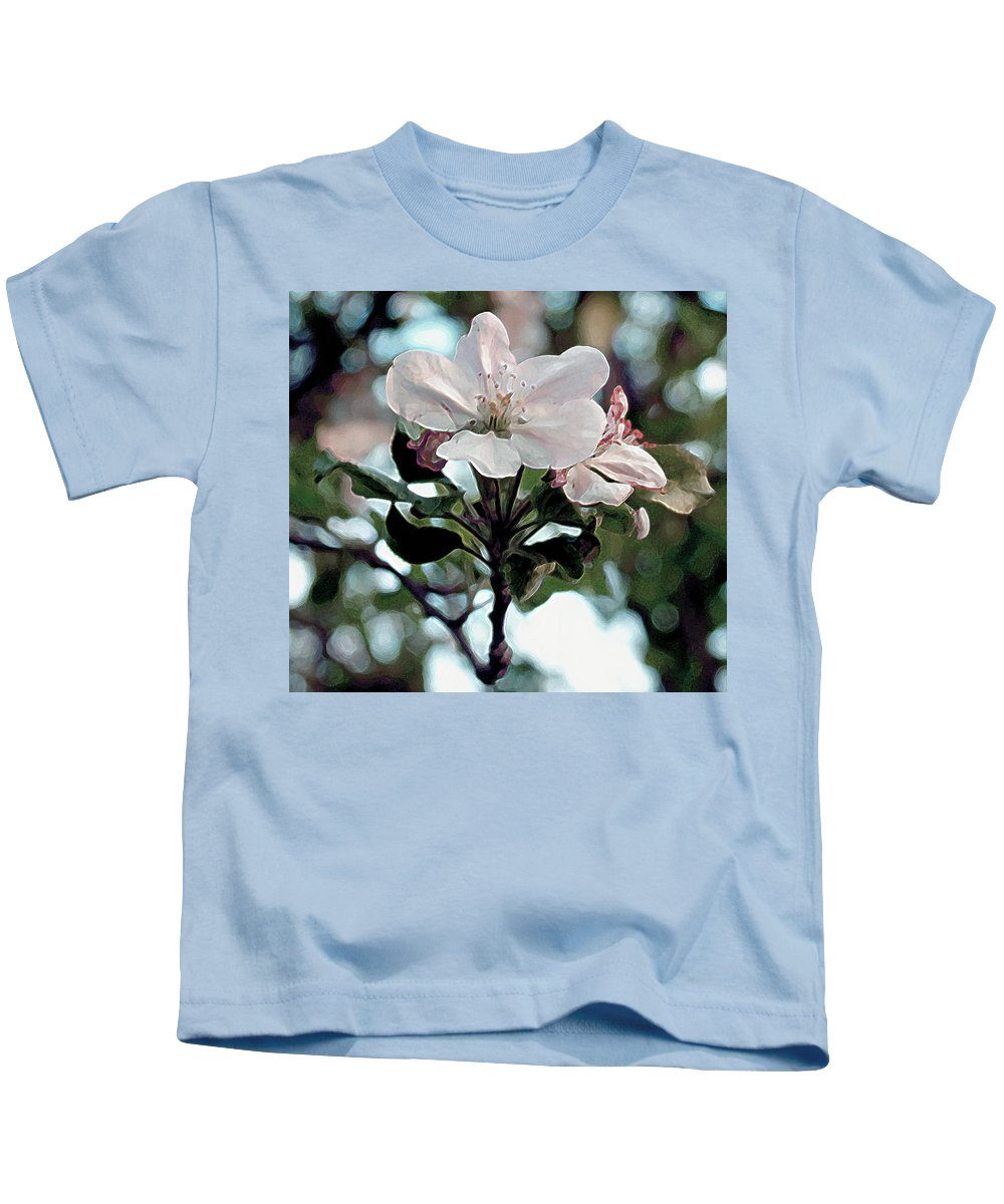 Flowers Kids T-Shirt featuring the painting Apple Blossom Time by RC deWinter