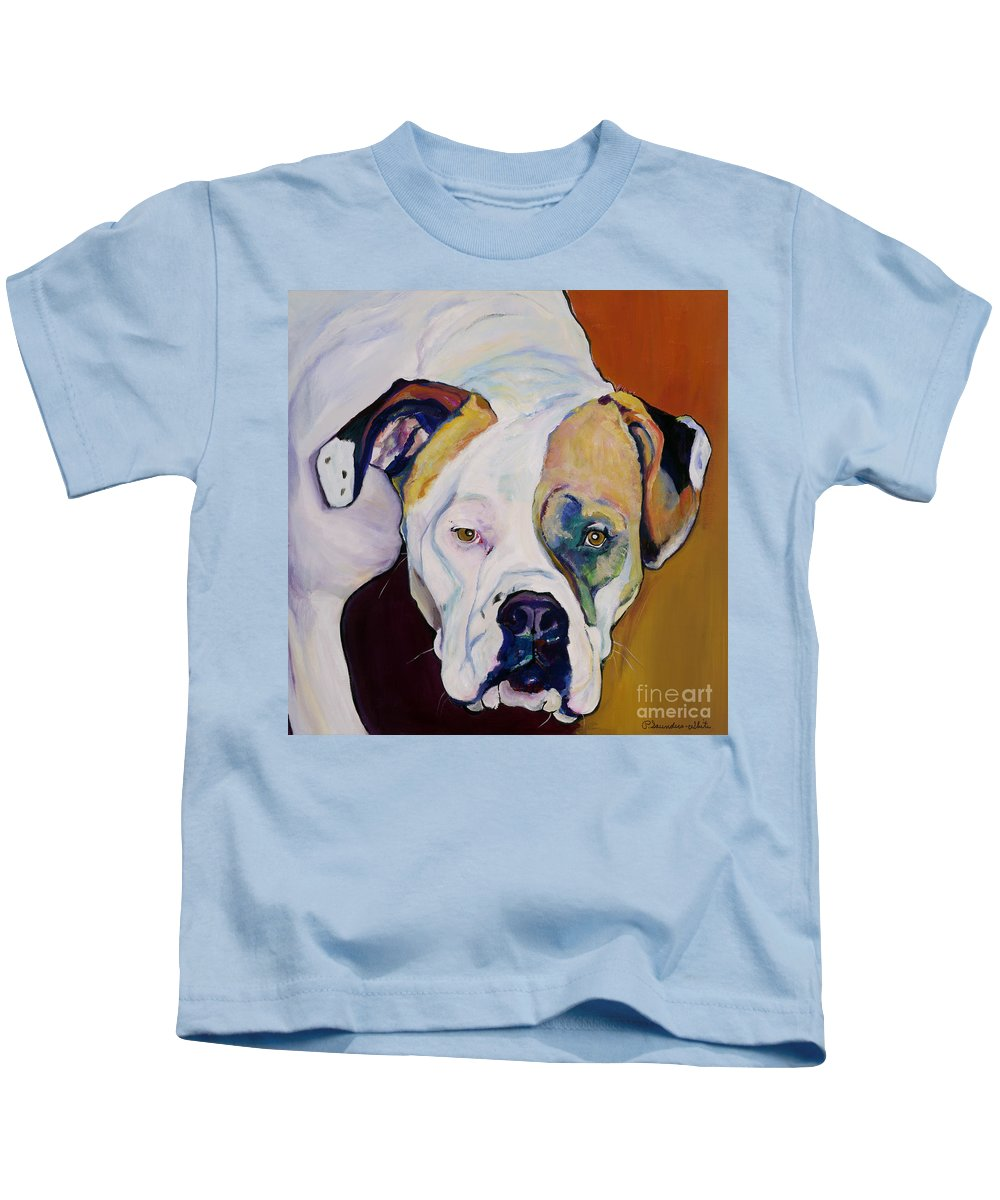 Pet Portraits Kids T-Shirt featuring the painting Apprehension by Pat Saunders-White