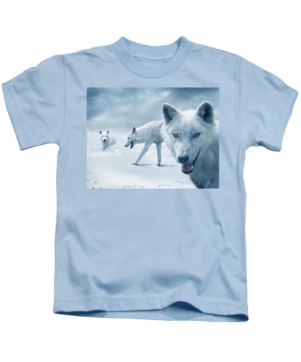 Arctic Kids T-Shirt featuring the photograph Arctic Wolves by Mal Bray