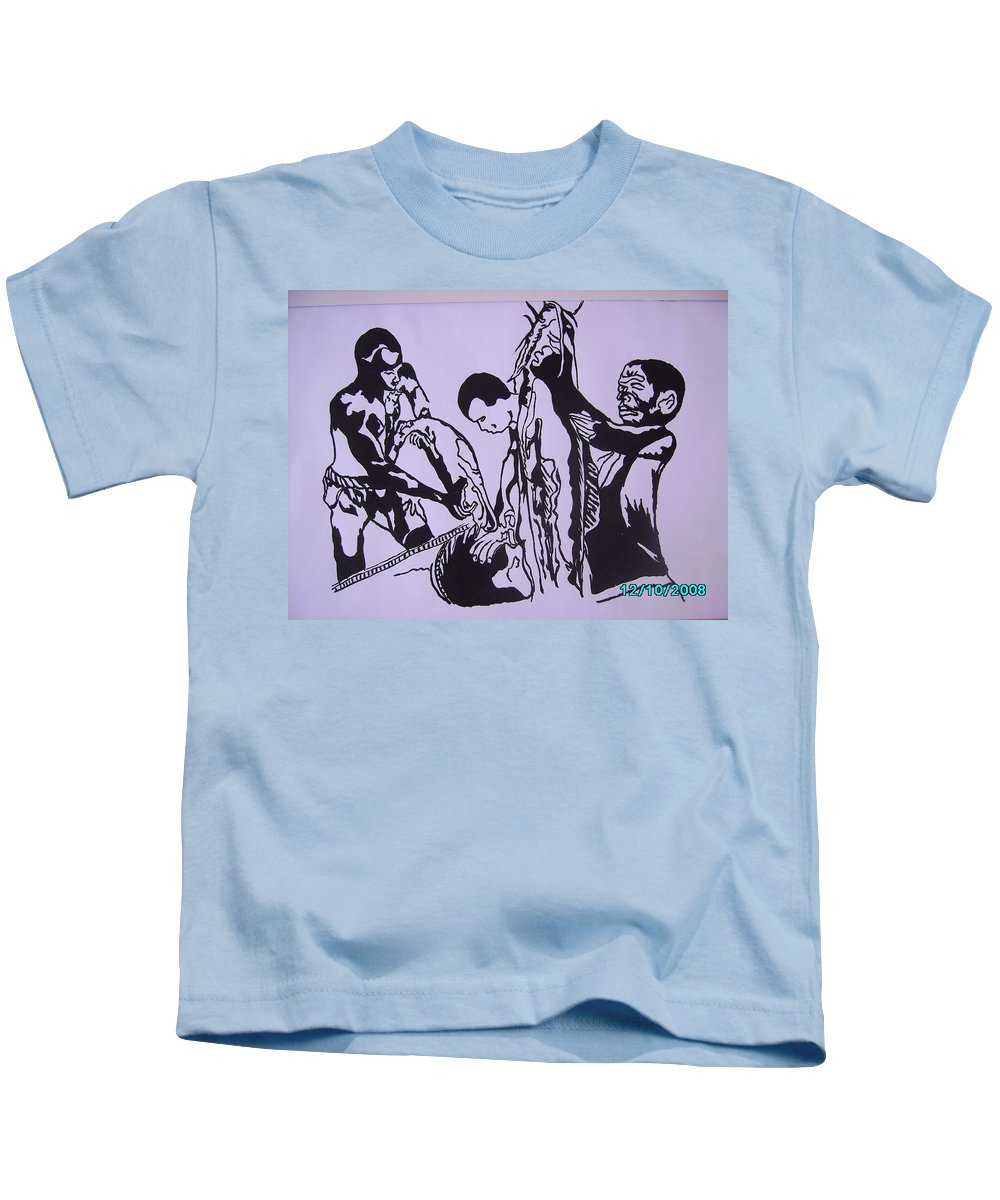 Festival Kids T-Shirt featuring the painting Argungun Fish Festival by Olaoluwa Smith