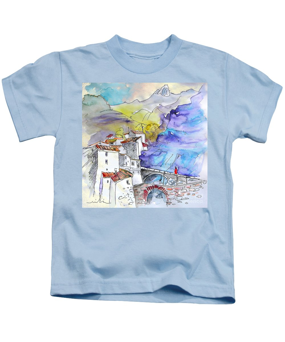 Arnedillo Kids T-Shirt featuring the painting Arnedillo In La Rioja Spain 02 by Miki De Goodaboom