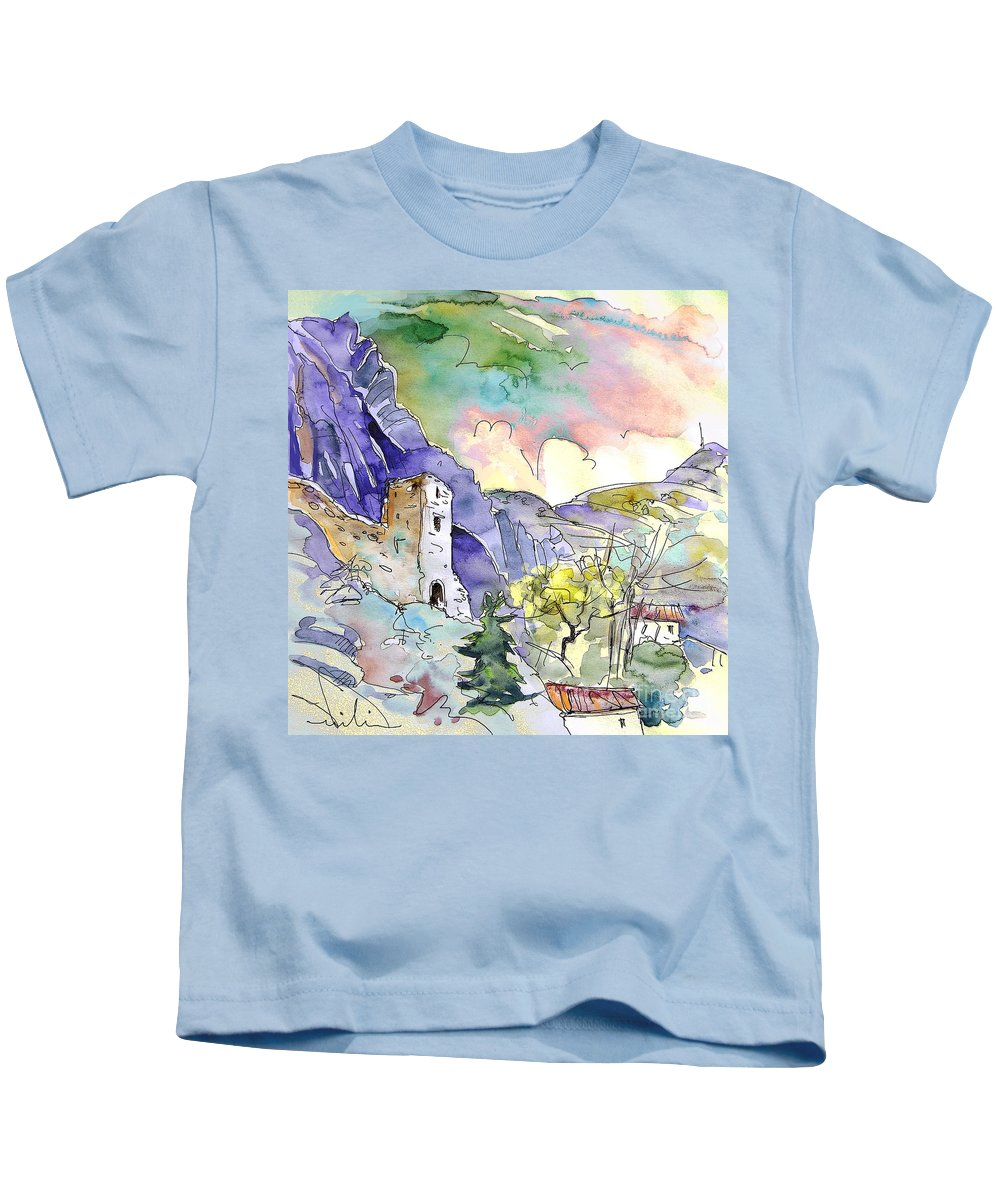 Arnedillo Kids T-Shirt featuring the painting Arnedillo In La Rioja Spain 03 by Miki De Goodaboom