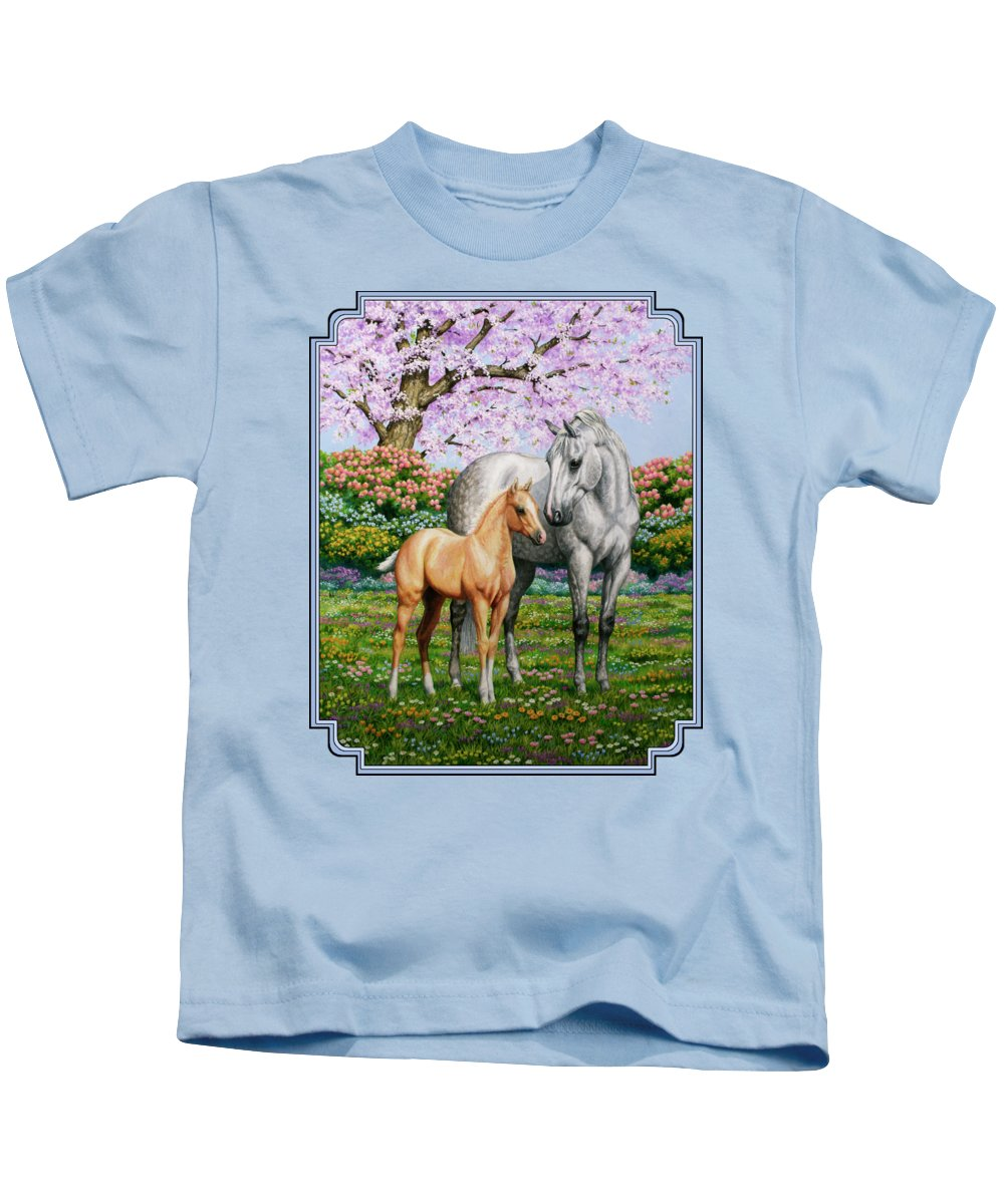 Horse Kids T-Shirt featuring the painting Spring's Gift - Mare And Foal by Crista Forest