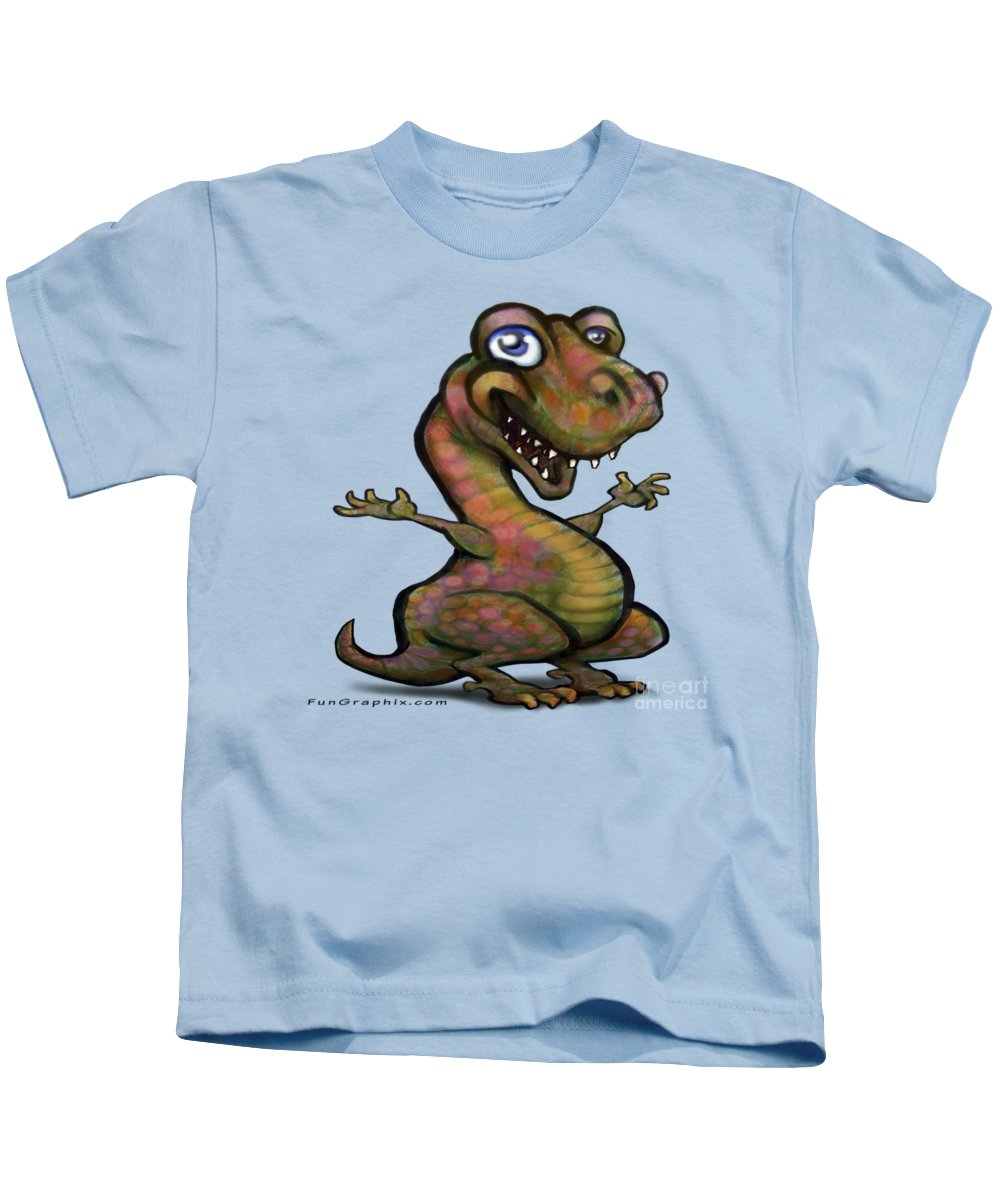 Baby Kids T-Shirt featuring the painting Baby T-rex Blue by Kevin Middleton