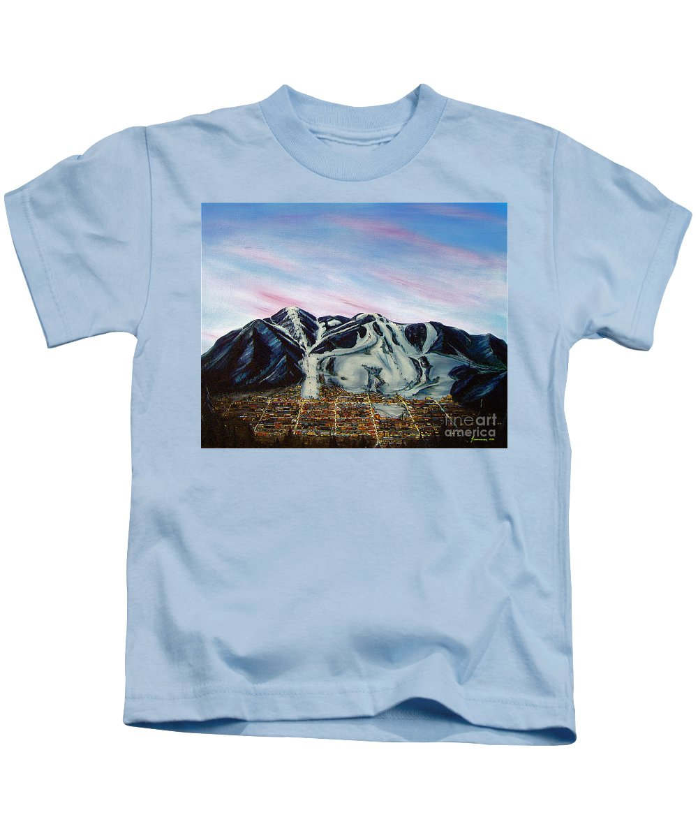 Aspen Kids T-Shirt featuring the painting Aspen by Jerome Stumphauzer