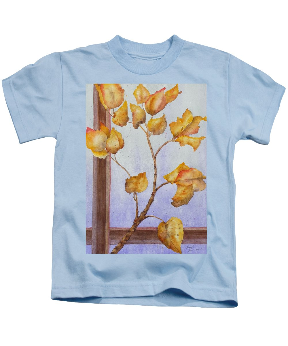 Leaves Kids T-Shirt featuring the painting Aspen by Ruth Kamenev