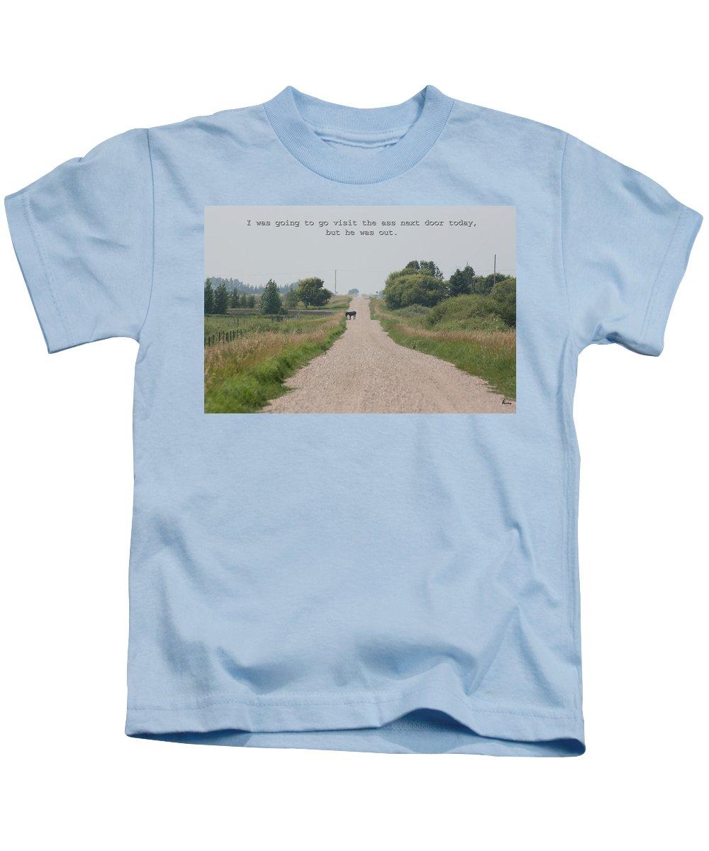 Jack Ass Donkey Road Trees Farm Ranch Mule Grass Prairie Saskatchewan Kids T-Shirt featuring the photograph Ass Next Door by Andrea Lawrence