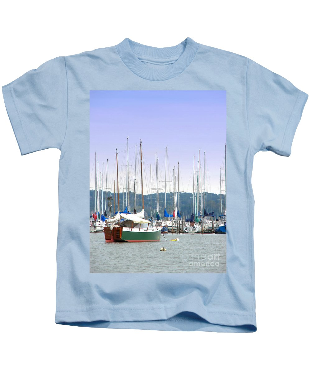 Seascape Kids T-Shirt featuring the photograph At The Yacht Club by Todd Blanchard