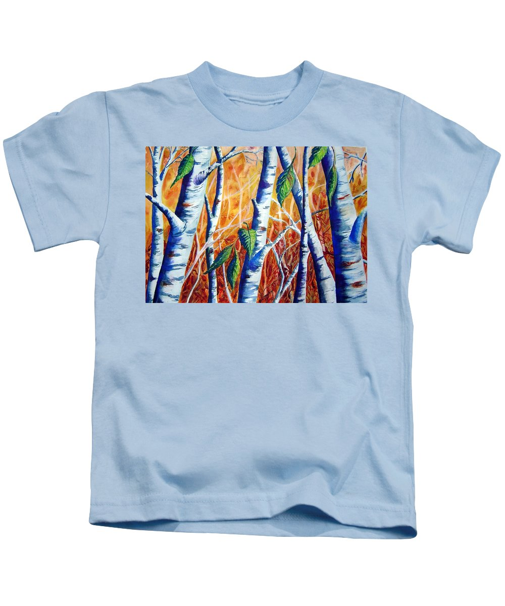 Autumn Birch Trees Kids T-Shirt featuring the painting Autumn Birch by Joanne Smoley