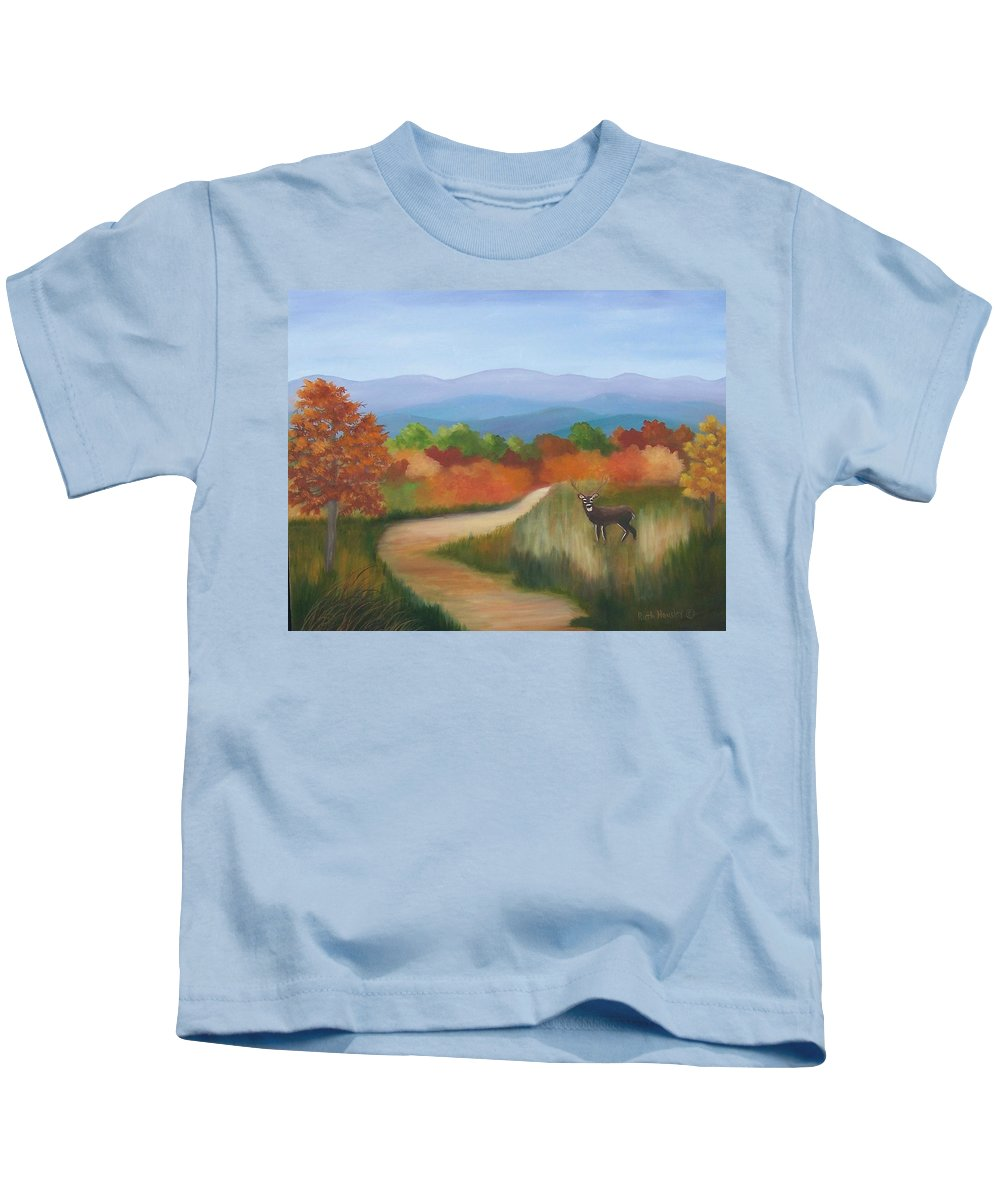 Mountains Kids T-Shirt featuring the painting Autumn In Blue Ridge Mountains Virginia by Ruth Housley