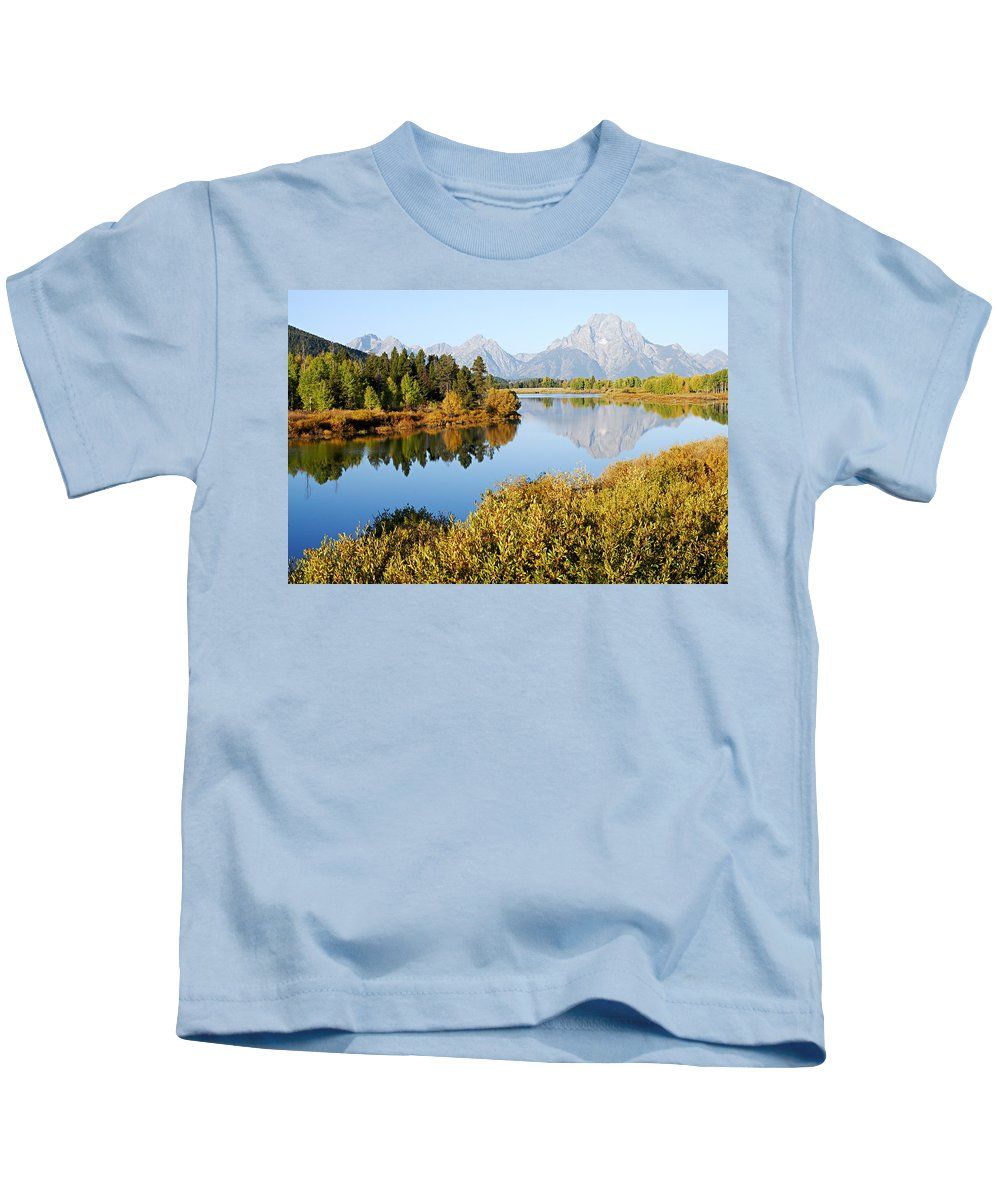 Oxbow Bend Kids T-Shirt featuring the photograph Autumn Morning At Oxbow Bend by Larry Ricker