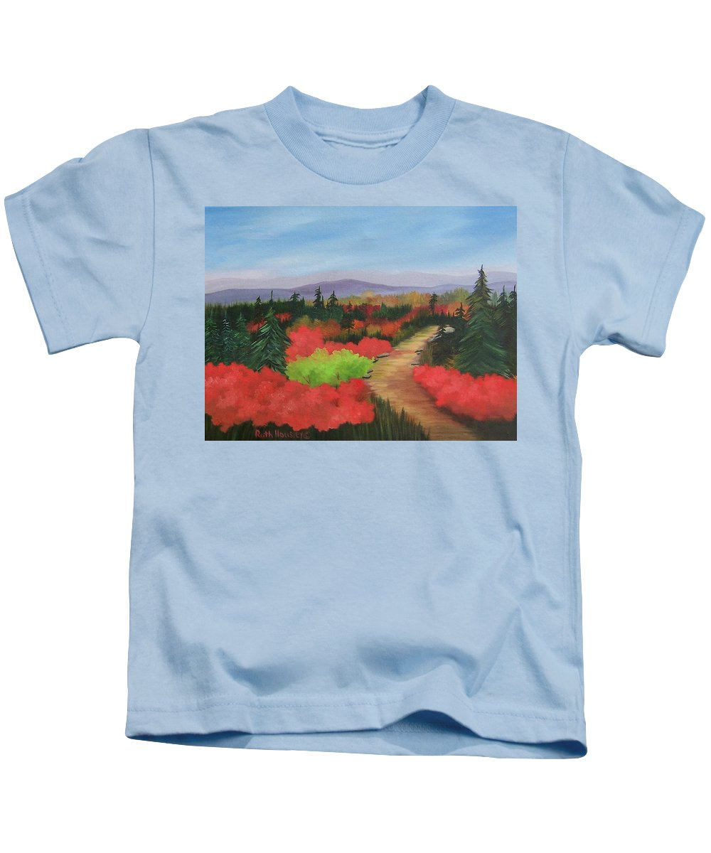 Landscape Kids T-Shirt featuring the painting Autumn On Dolly Sods by Ruth Housley