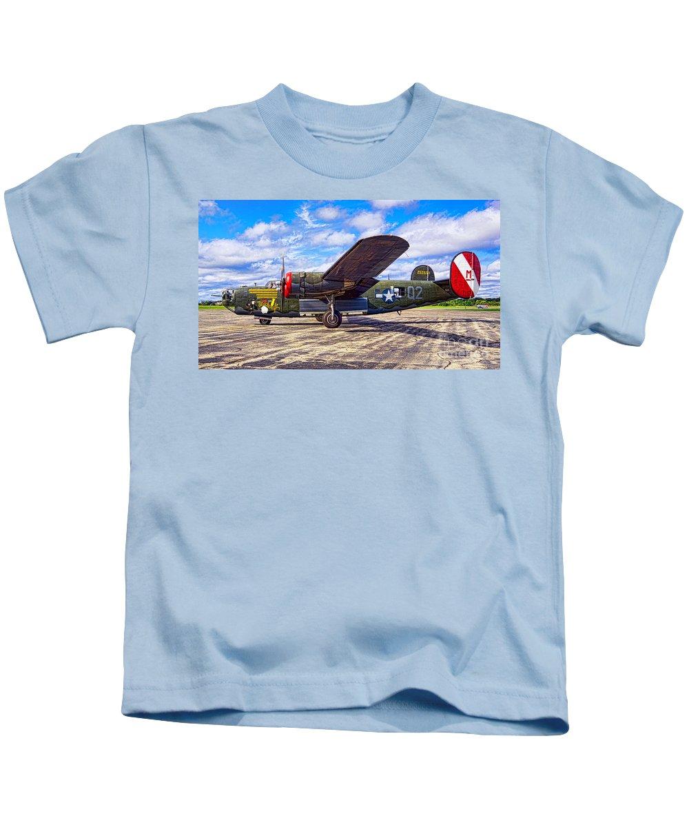 B25 Kids T-Shirt featuring the photograph B-24 Liberator by Joe Geraci