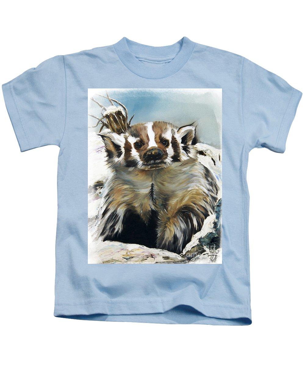 Southwest Art Kids T-Shirt featuring the painting Badger - Guardian Of The South by J W Baker