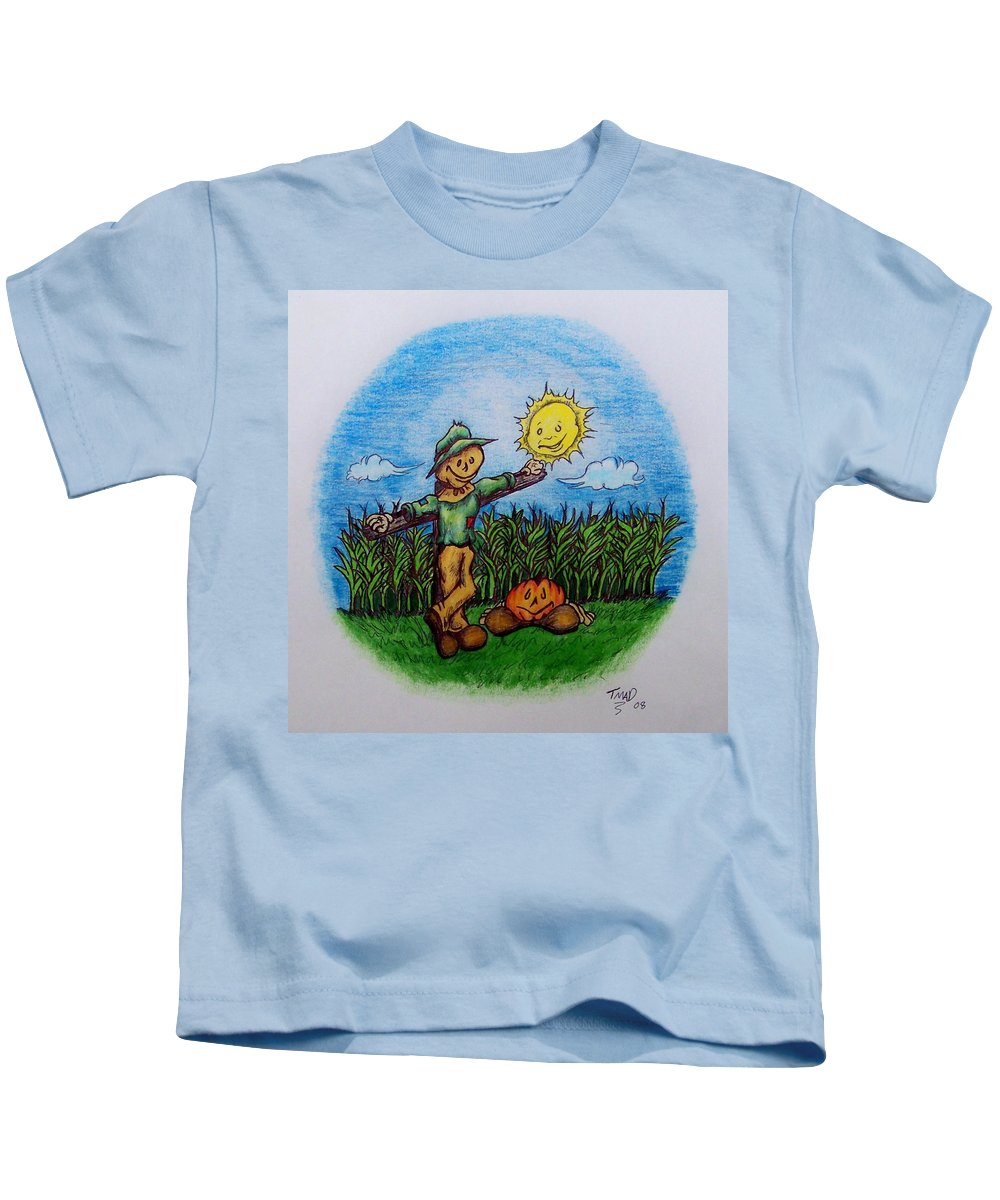 Michael Kids T-Shirt featuring the drawing Baggs And Boo by Michael TMAD Finney