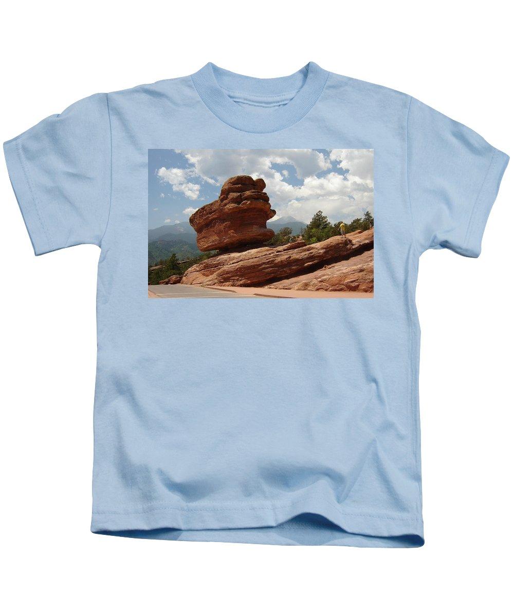 Colorado Kids T-Shirt featuring the photograph Balance Rock by Anita Burgermeister