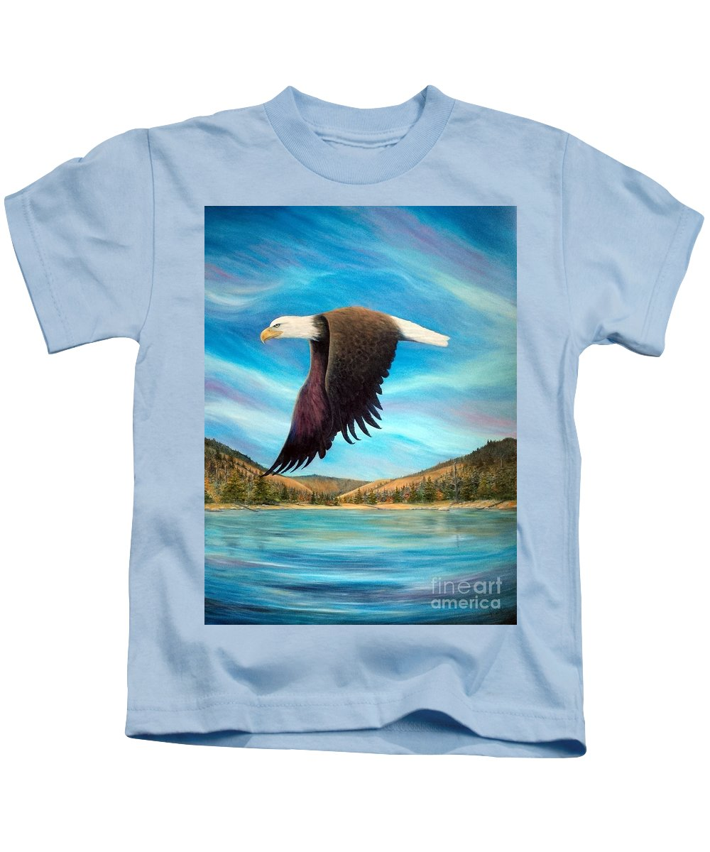 American Kids T-Shirt featuring the painting Bald Eagle Shuswap Rhapsody by Joey Nash