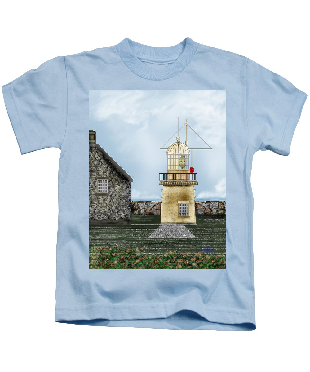 Lighthouse Kids T-Shirt featuring the painting Ballinacourty Lighthouse At Waterford Ireland by Anne Norskog