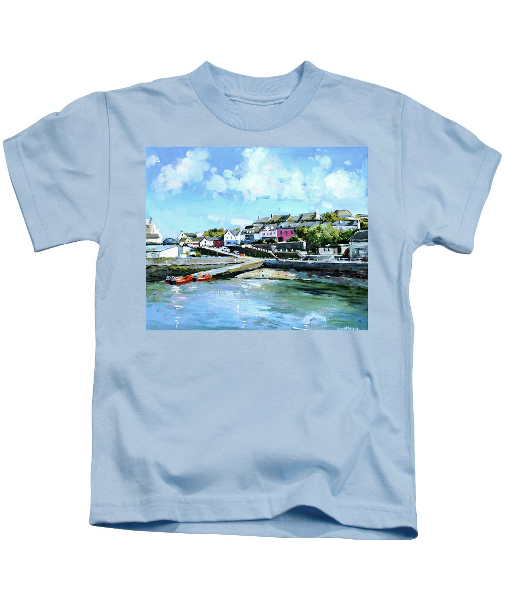Baltimore Kids T-Shirt featuring the painting Baltimore Harbour County Cork by Conor McGuire