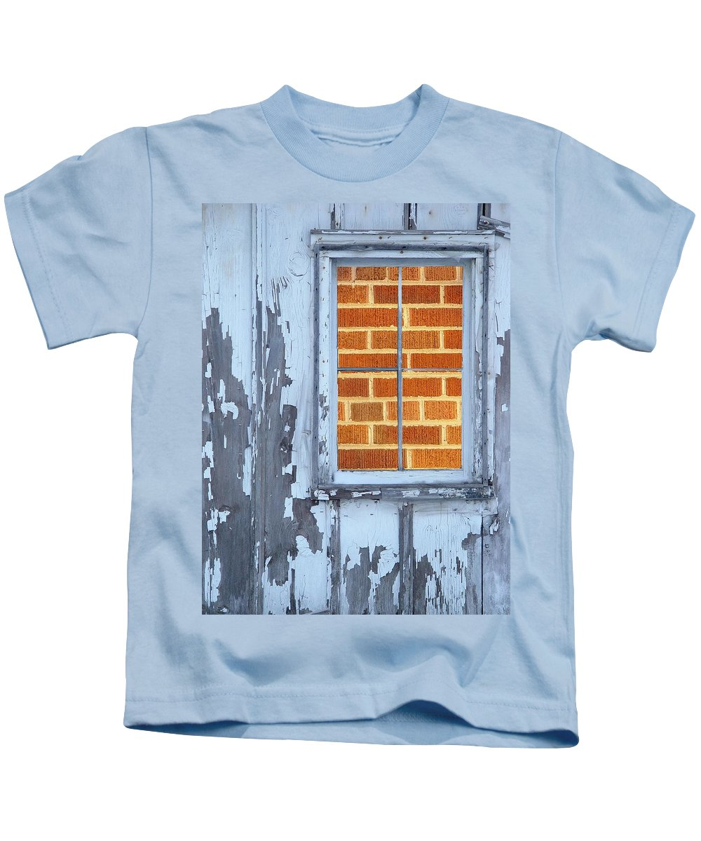 Barn Kids T-Shirt featuring the photograph Barn Brick Window by Tim Allen