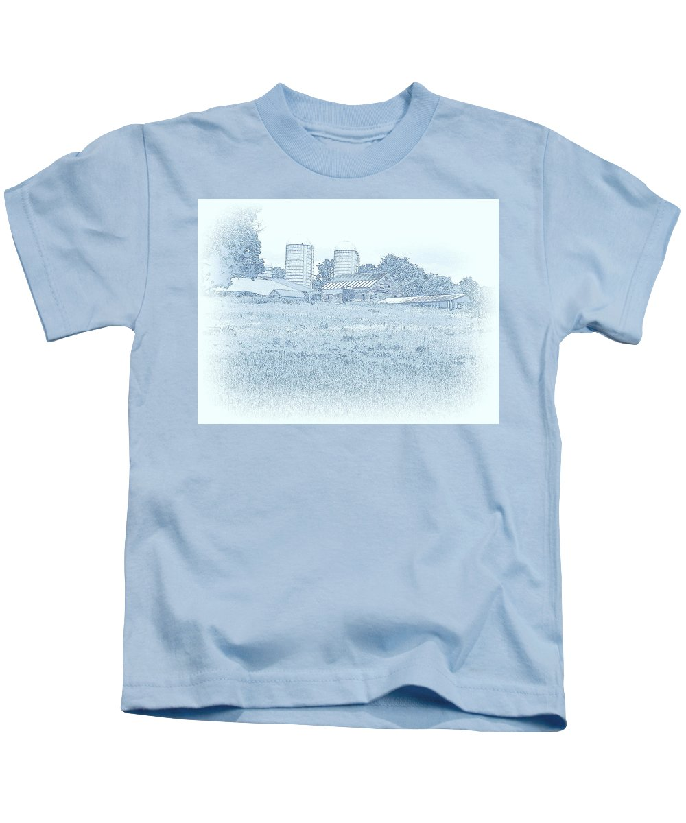 Landscape Kids T-Shirt featuring the mixed media Barn In Blue by Susan Lafleur