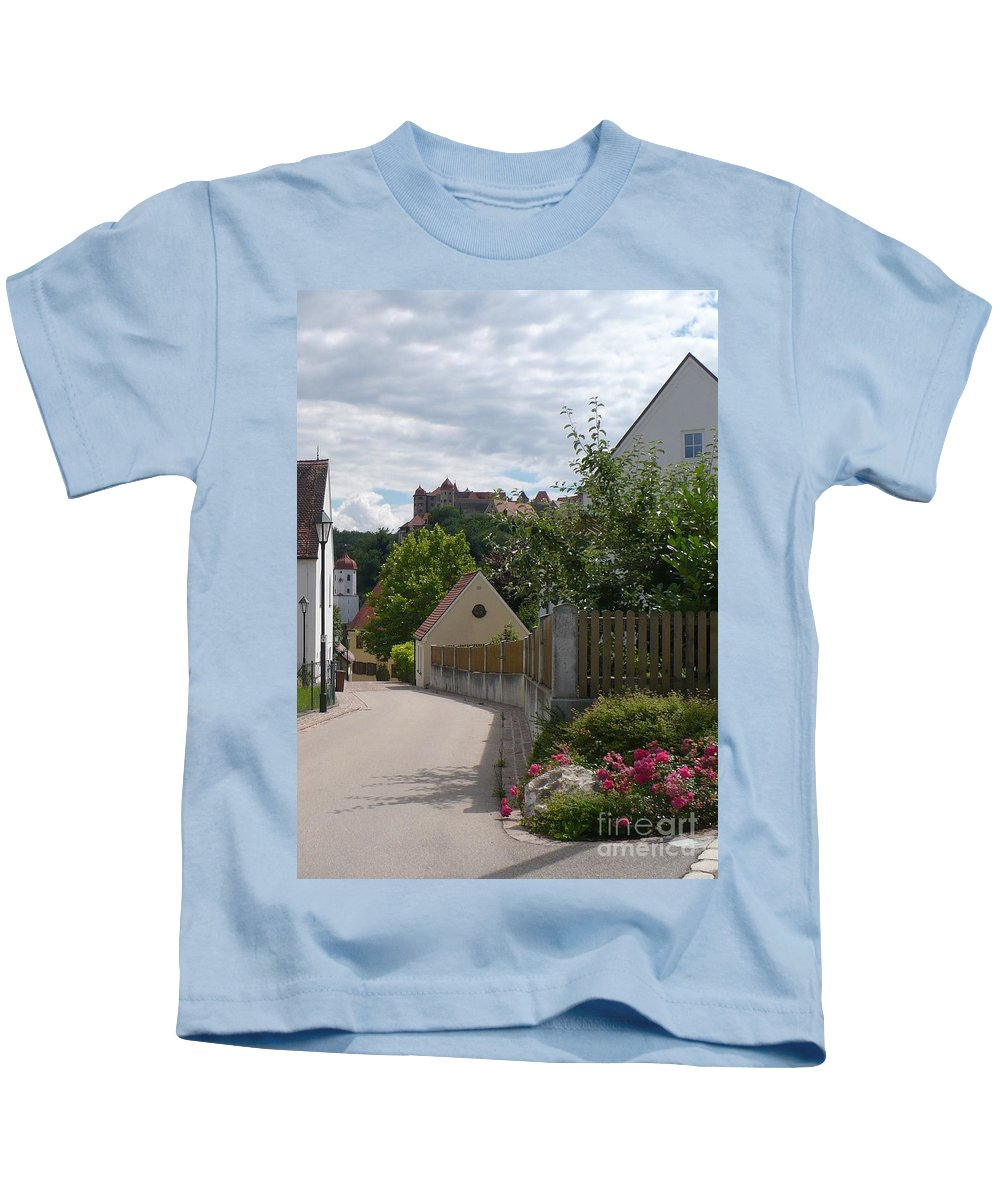 Castle Kids T-Shirt featuring the photograph Bavarian Village With Castle View by Carol Groenen