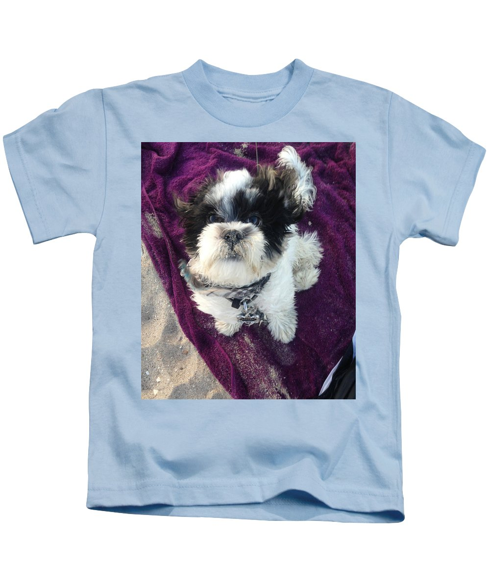 Dog Kids T-Shirt featuring the photograph Baxter Boo Goes To The Beach by Domenique Martinez