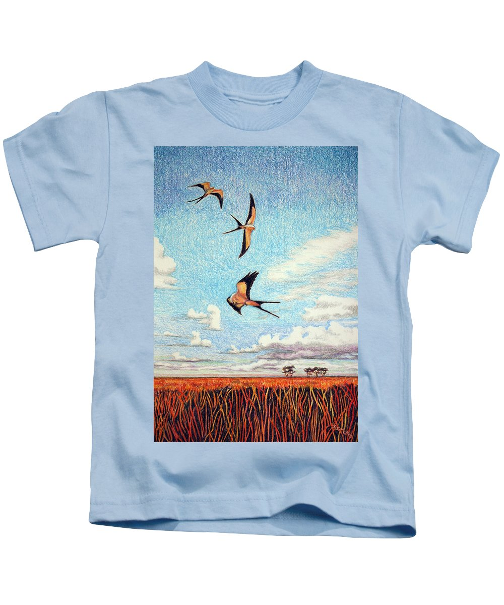 Color Pencil Kids T-Shirt featuring the drawing Bayou Ballet by Suzanne McKee