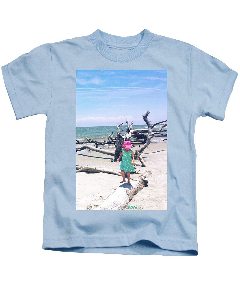 Beach Balancing Act Kids T-Shirt featuring the photograph Beach Balancing Act by Seth Weaver