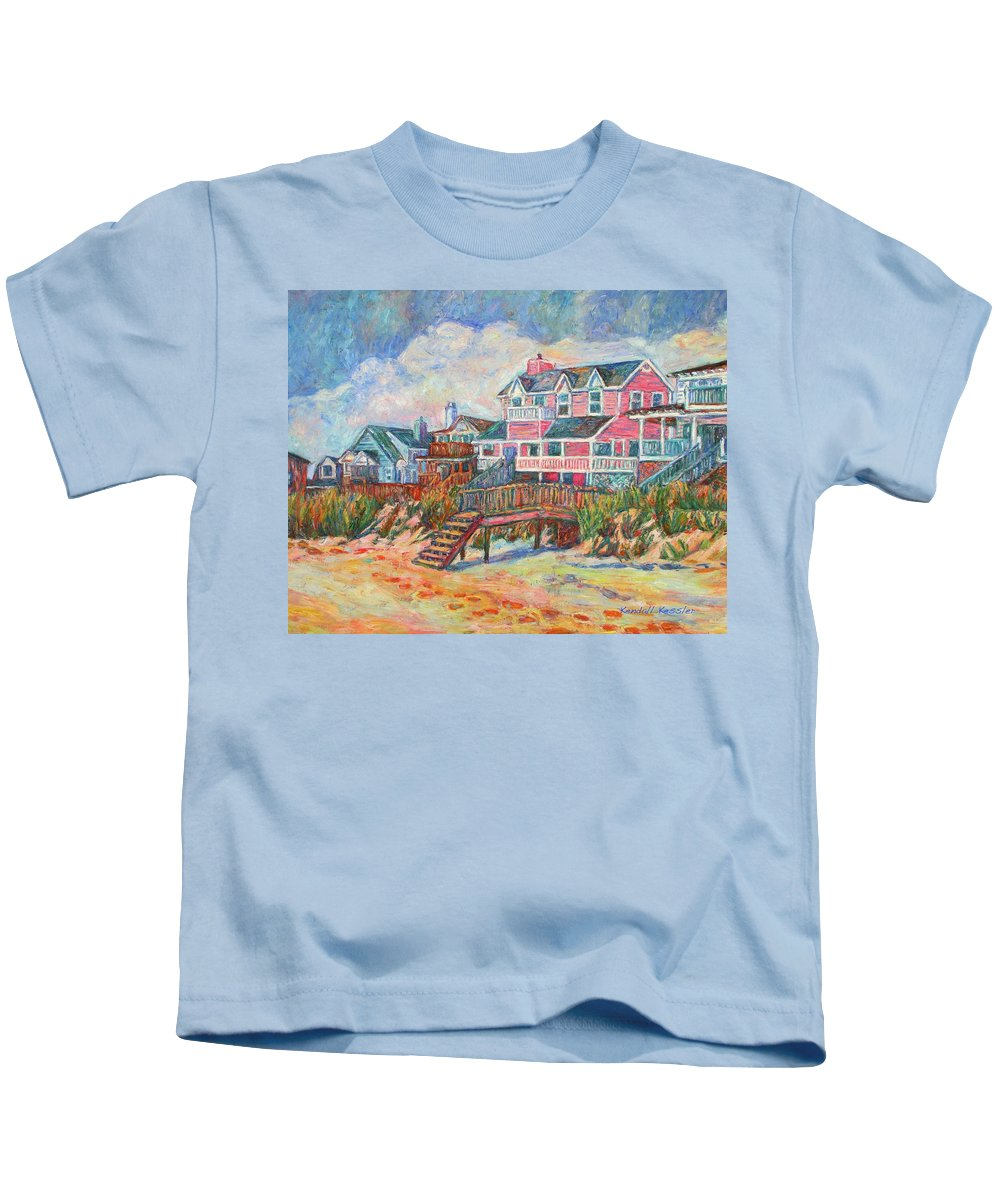 Landscape Kids T-Shirt featuring the painting Beach Houses At Pawleys Island by Kendall Kessler