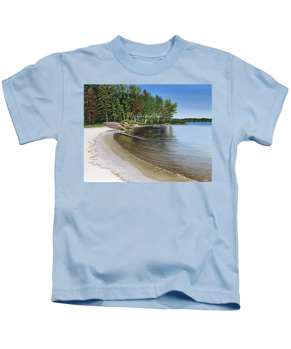 Landscapes Kids T-Shirt featuring the painting Beach In Muskoka by Kenneth M Kirsch