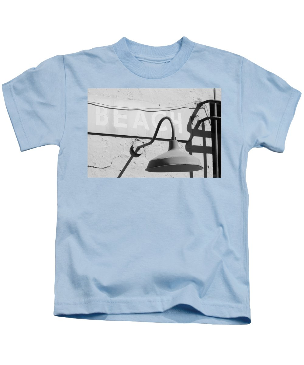 Black And White Kids T-Shirt featuring the photograph Beach Light by Rob Hans
